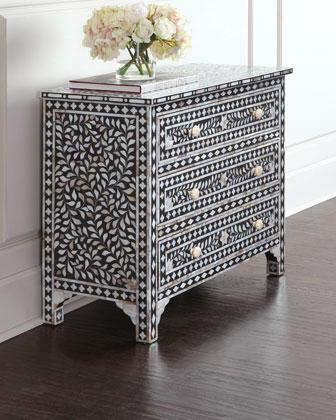 Zafrina Black And White Bone Inlay Chest