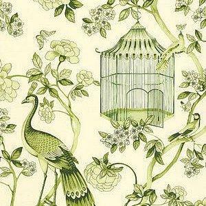 Schumacher Oiseaux et Fleurs Peridot Wallpaper