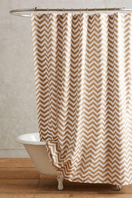 brown and white shower curtain. Radiant Chevron Bronze White Shower Curtain