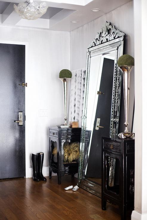 Foyer with venetian floor mirror for Black framed floor length mirror