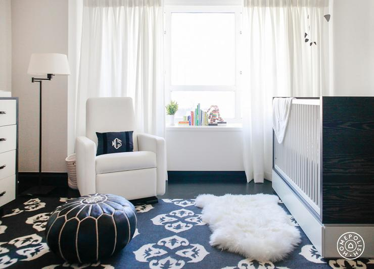 Nursery With Black And White Rug Transitional Nursery