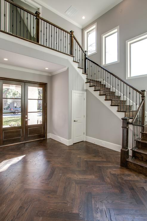 Foyer Hardwood Floors : Foyer with wood herringbone floor transitional
