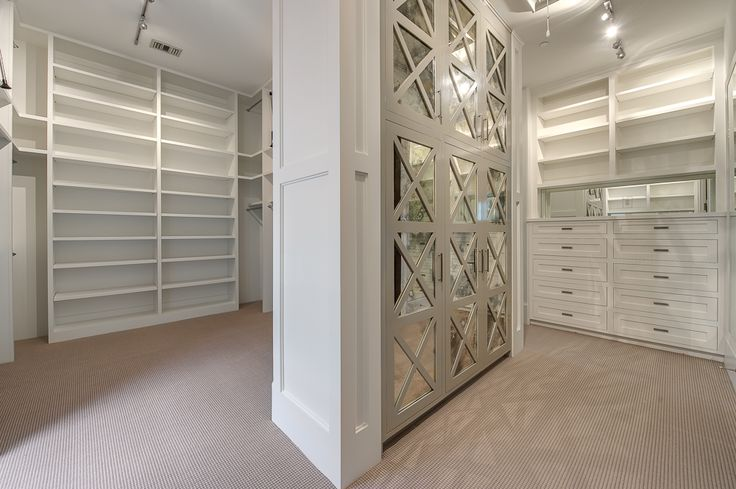 Fantastic Master Closet Features Gray Built In Wardrobe Closets Accented With Mirrored Doors X Trim Across From A Dresser Under