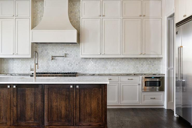 kitchen carrera marble hex tile backsplash white french kitchen hood