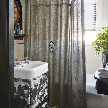 Chinoiserie Bathroom with Skirted Vanity, Transitional, Bathroom