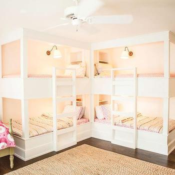 Kids room with l shaped beds design ideas for Girls bedroom decorating ideas with bunk beds