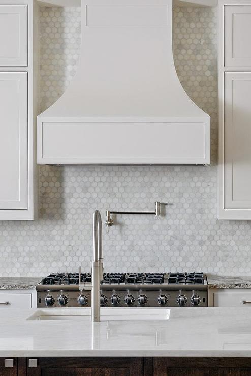 White Marble Hex Kitchen Backsplash Design Ideas