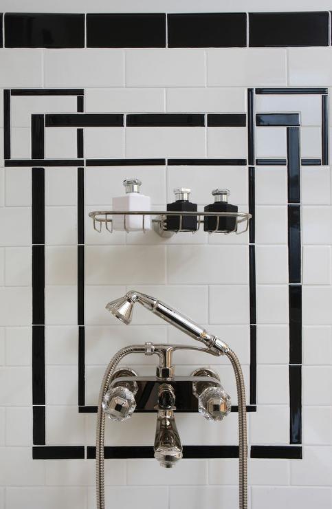 Black and White Shower Tiles - Hollywood Regency - Bathroom