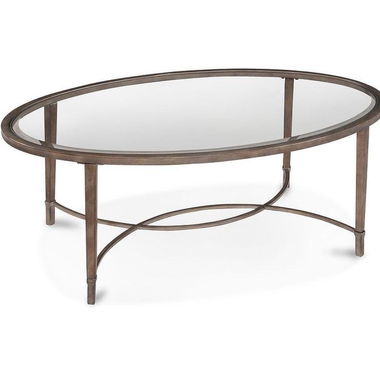 Art Van Copia Silver Oval Cocktail Table