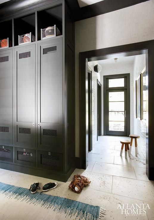Mudroom with black lockers contemporary laundry room for Entryway lockers with doors