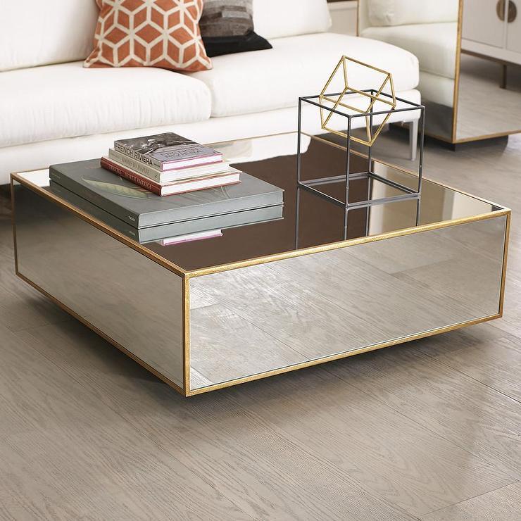 Coffee tables mirrored coffee tables and coffe table on for Mirror and wood coffee table