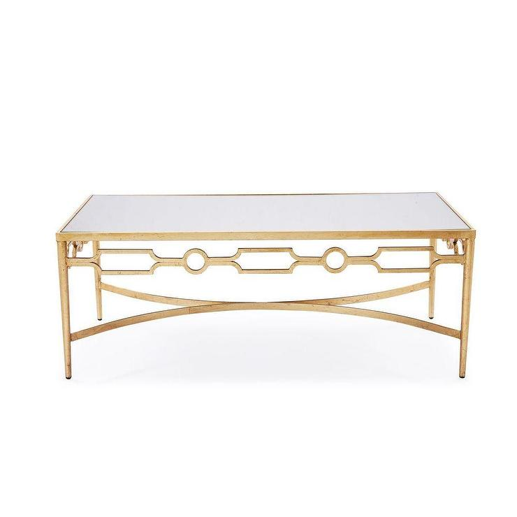 Interlude Larissa Mirrored Coffee Table With Gold Leaf Finish