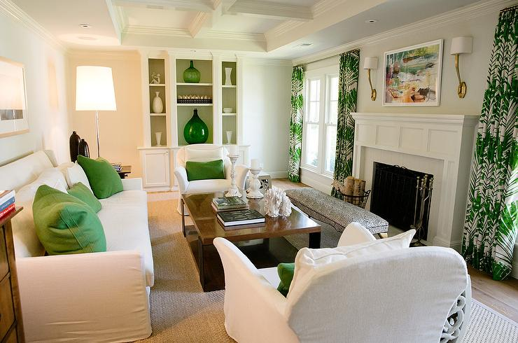 Living Room With Green Accents View Full Size
