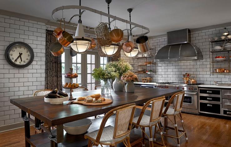 Pot Rack over Kitchen Island Dining Table - Eclectic - Kitchen