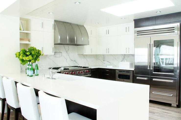 White Quartz Waterfall Countertops Design Ideas