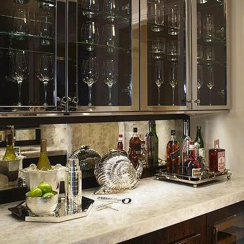 Stainless Steel Cabinets with Glass Doors, Transitional, Kitchen