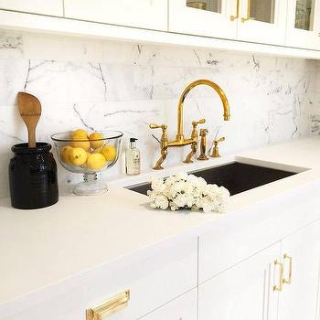 Kitchen with Gold Deck Mount Faucet, Transitional, Kitchen