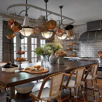 Pot Rack over Kitchen Island Dining Table, Eclectic, Kitchen