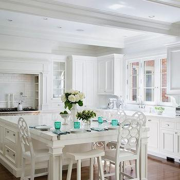White Kitchen With Teal Accents Design Ideas