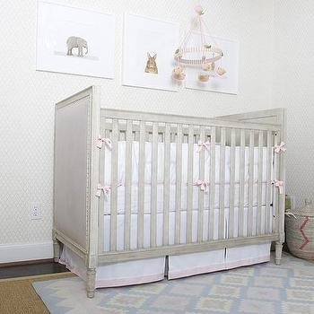 Nursery with Gray French Crib, Transitional, Nursery