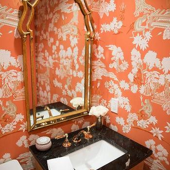 Orange And Pink Powder Room With Damask Wallpaper Contemporary