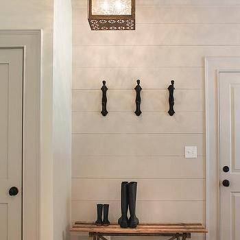 Cottage Foyer With Gray Shiplap Walls