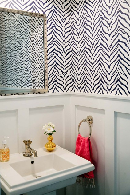 Powder room with board and batten walls transitional for Navy bathroom wallpaper