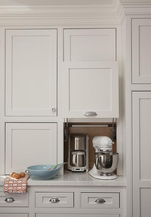 Kitchen Appliances Cabinet With Gray Garage Door