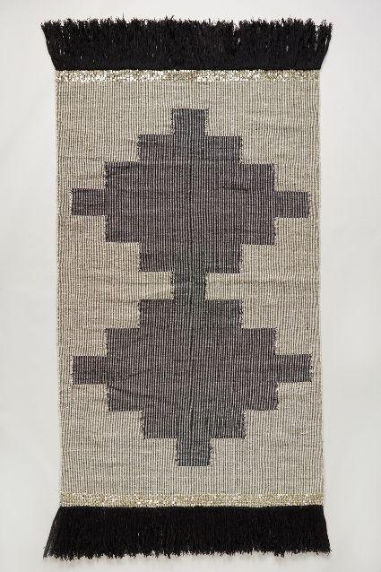 Flat Weave Geometric Pattern Grey Ivory Wool Area Rug