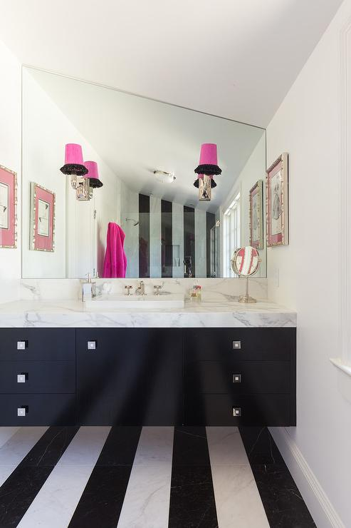 Bathroom With Black And White Stripe Floor Tiles