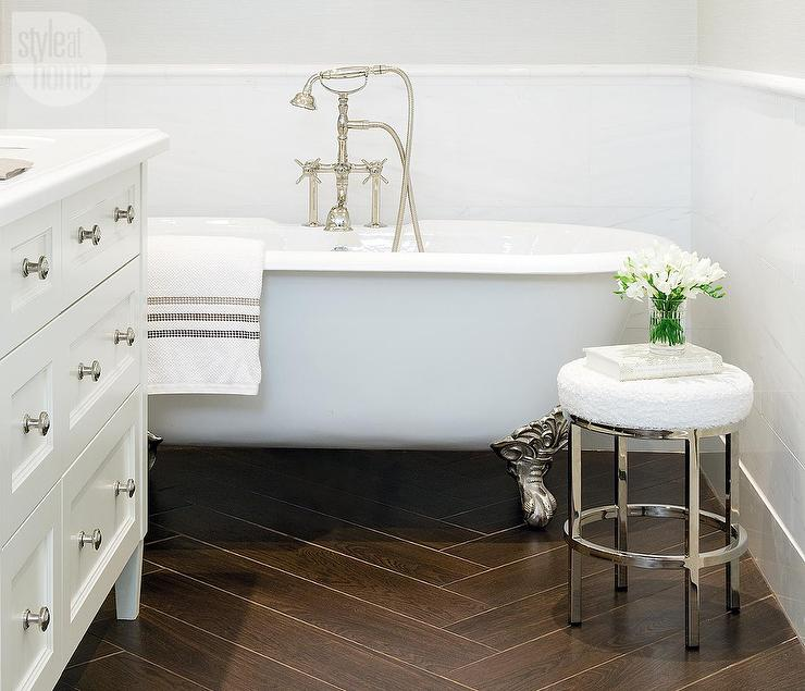 Bathroom With Porcelain Wood Like Tile Floor Transitional Bathroom