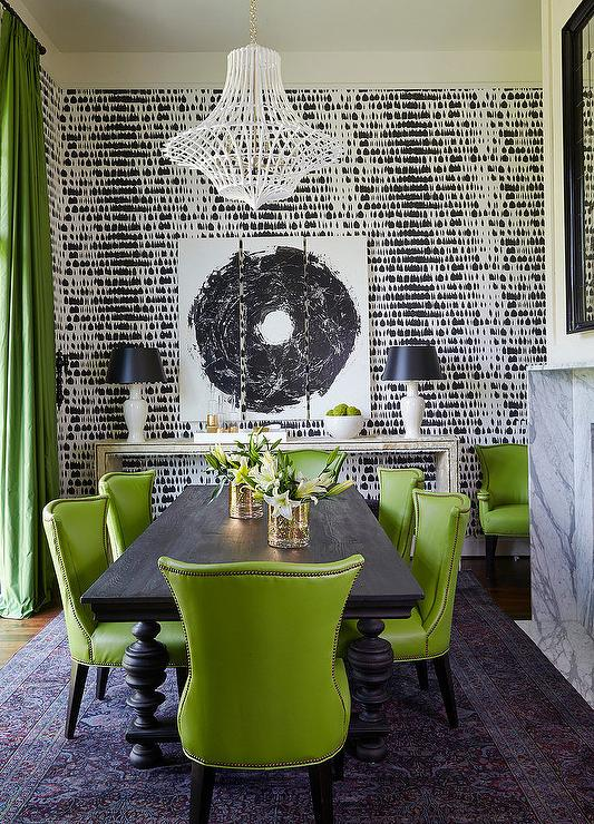 Green and Black Dining Rooms - Contemporary - Dining Room