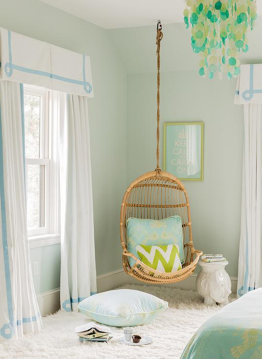 Blue and green teen girls room transitional girl 39 s room for Blue and green girls bedroom ideas