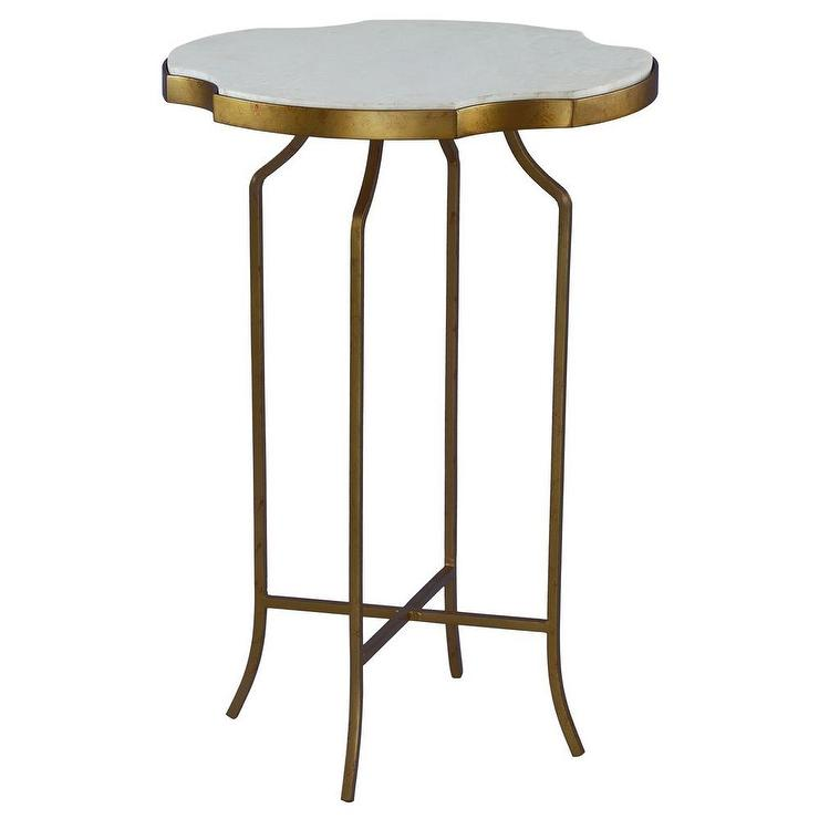 Galleria Marble And Wrought Iron Brass Accent Table