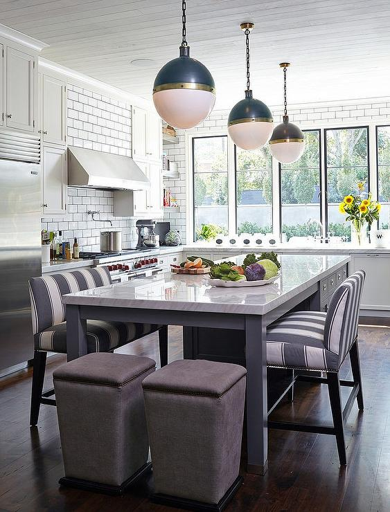Kitchen Island As Dining Table kitchen island with gray striped bench - transitional - kitchen