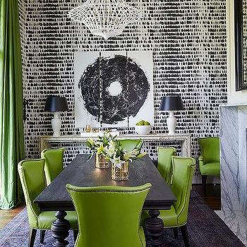 Green and Black Dining Rooms, Contemporary, Dining Room