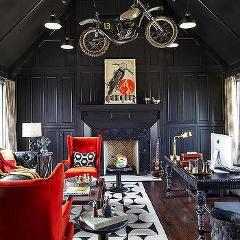 Black Paneled Office with Vaulted Ceiling, Eclectic, Den/library/office