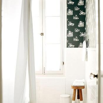 French Window with Roman Shade, Cottage, Bathroom