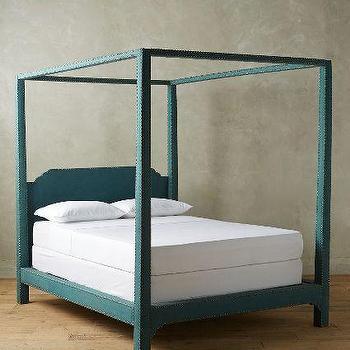 Dark Turquoise Nailhead Linen Bed
