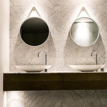 floating bathroom vanity with bowls sinks