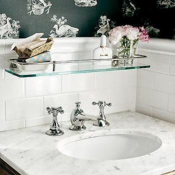 Glass Shelf Over Sink Traditional Bathroom Elle Decor