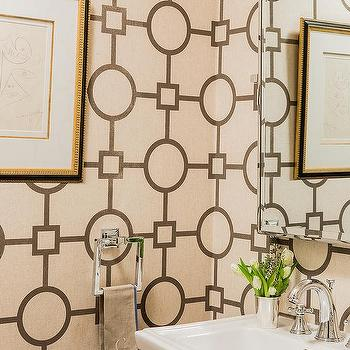 Powder Room with Phillip Jeffries Union Square Wallpaper, Transitional, Bathroom