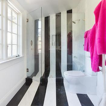 Bathroom With Black And White Stripe Tiles