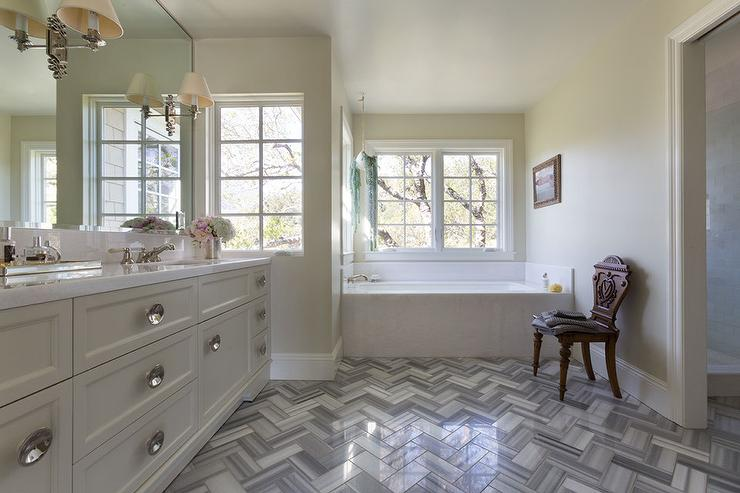 Bathroom With Gray Chevron Floor Tiles Transitional