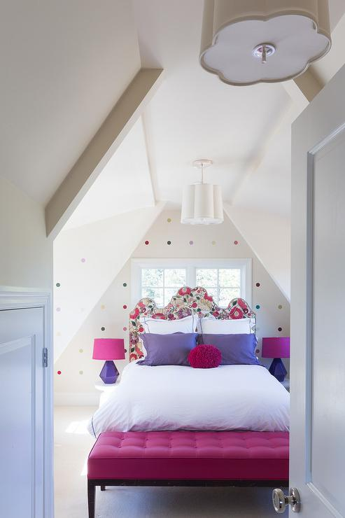 Kids Headboard In Front Of Window Contemporary Girl S Room