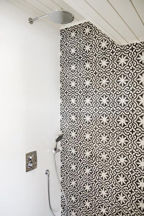 Tile Bathroom Mediterranean Black White Gray Herringbone