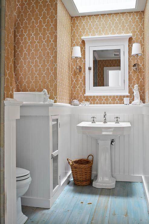 Powder Room With Painted Pine Floor Transitional Bathroom