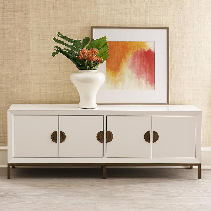 Patchwork white media console White media console