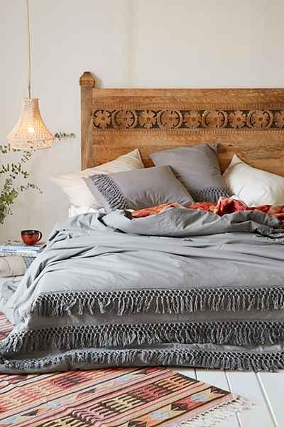 Magical Thinking Gray Net Tassel Duvet Cover