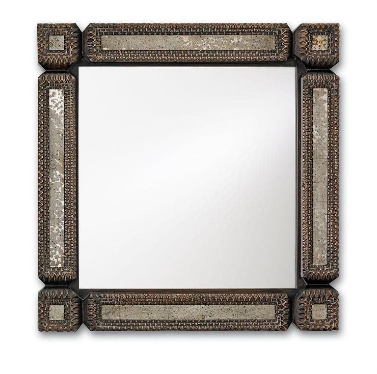 Currey and Company Antique Silver Tramp Art Wall Mirror